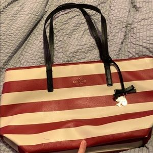Kate Spade tote bag with charm striped red
